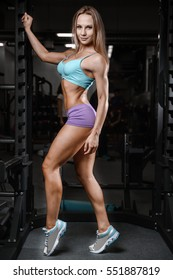 Athletic young woman model posing and exercising fitness workout with weights in the gym lifestyle portrait caucasian model