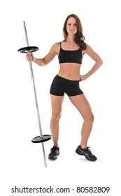 Athletic young woman posing with Weights