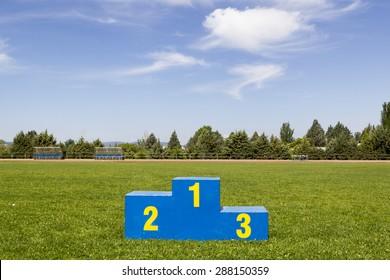 Athletics podium on grass