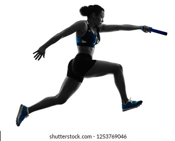 athletics relay runners sprinters running runners isolated silho