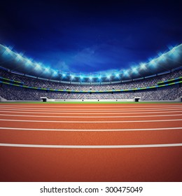 athletics stadium with track at general front night view sport theme render illustration background