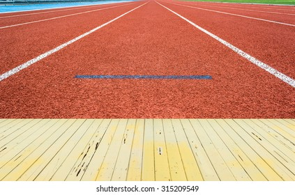 Athletics Track Lane made with orange rubber