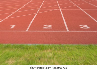 Athletics Track Lane no. 1-3 with grass field