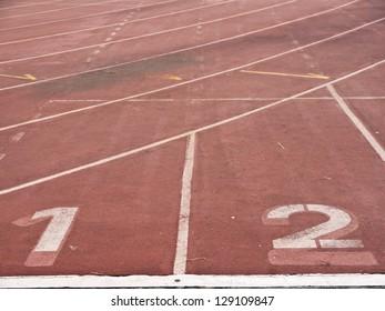 Athletics track lane numbers