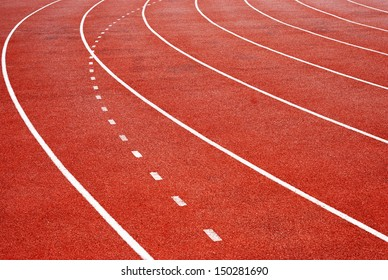 Athletics Track Lane, white lines and curve