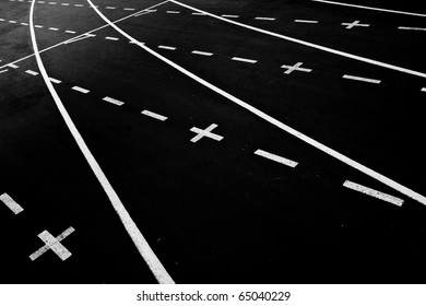 Athletics Track Lanes with Positive signs