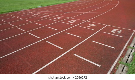 An athletics track waiting for the race to begin