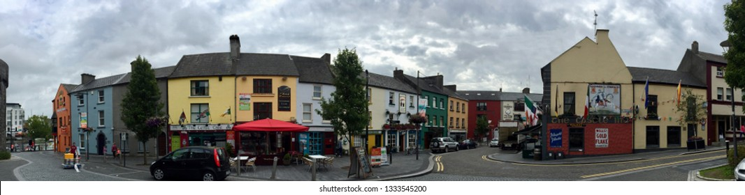 Athlone / Ireland - August 22 2017: Street view in Left bank of Athlone of bars and shops