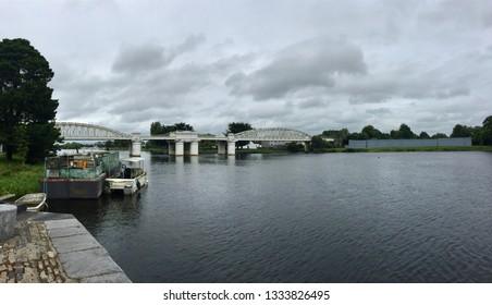 Athlone / Ireland - August 22 2017: Athlone railway bridge over River Shannon