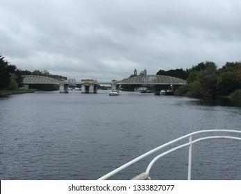 Athlone / Ireland - August 22 2017:  River Shannon views of Athlone city