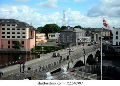 ATHLONE, IRELAND - AUGUST 6: Bridge over River Shannon on 6 August 2017 at Athlone. River Shannon, the longest river of Ireland flows through the city of Athlone.