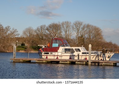 Athlone, Ireland - February 23, 2019: Boat on river in Athlone.