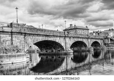 Athlone, Ireland - June 2018 Bridge in Athlone B&W with lovely full reflection