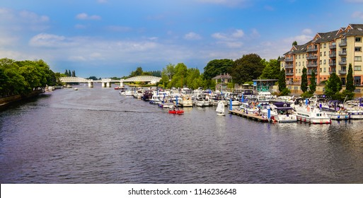 Athlone, ireland in June of 2018 on the river Shannon with a nice waterfront marina.