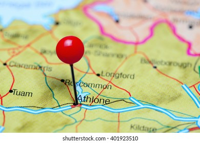 Athlone pinned on a map of Ireland