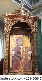 Athos, Greece, 21. 10. 2017. Ancient icon of the Virgin Mary in the salary. St. Andrew's Cathedral St. Andrew's Monastery Holy Mount Athos
