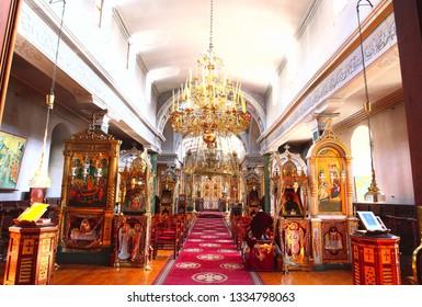 Athos, Greece 21.10.20007. Iconostasis of St. Andrew's Cathedral, Andrew's Skete. Holidays mountain Athos