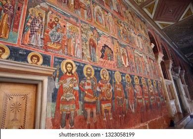 Athos, Greece 22,10,2017 monastery Iviron, Ancient murals on the walls of the temple. Mount Mount Athos