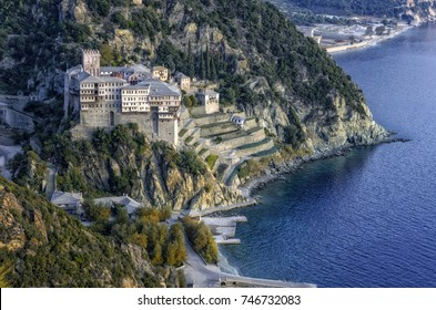 Athos peninsula, Greece. The Monastery of Dionysiou located in the Monks Republic on the peninsula of Athos.