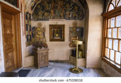 Athos, Xenophontos monastery at March, 30, 2017 - Frescoes of the Holy Monastery of Xenophon on Athos, Greece