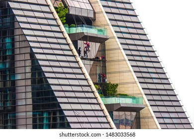 athum Wan District,Phloen Chit Road,Bangkok,Thailand on March 16,2019:close up the exterior of Rosewood Bangkok with a visually stunning,vertical architectural marvel.