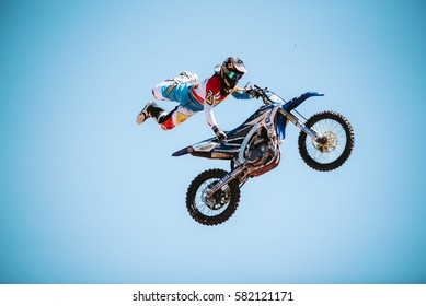 "Atibaia, SAO PAULO - 2017, FEB 12: A professional rider at the FMX (Freestyle Motocross) competition at ""Duelo de Motos"" in Atibaia, SP - Brazil."