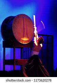 Atibaia, SP, Brazil - October,5,2013: Taiko player with big drum Odaiko.