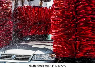 Atina,Lazio,Italy-July 5,2019:vehicle in automatic self service car wash machine