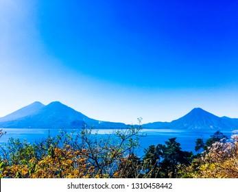 Atitlan, Toliman & San Pedro volcanoes on Lake Atitlan in Guatemalan highlands