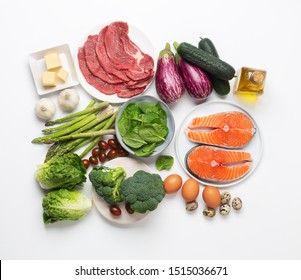 Atkins Diet food isolated on white, health concept. The aim is to lose weight by avoiding carbohydrates and controlling insulin levels