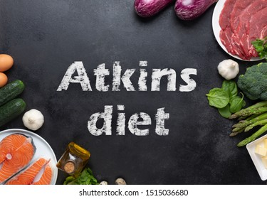 Atkins Diet food on balck chalkboard, health concept. The aim is to lose weight by avoiding carbohydrates and controlling insulin levels