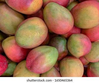 Atkins mangos on a supermarket display.