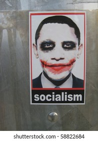"""ATLANTA - AUG 9: Controversial """"Socialist Joker"""" Obama stickers can still be found in the streets of Atlanta on August 9, 2010, one year after they began to appear in L.A. and went viral."""