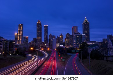 ATLANTA - DEC 31: a view of the Atlanta skyline from the Jackson street bridge on Dec 31, 2016