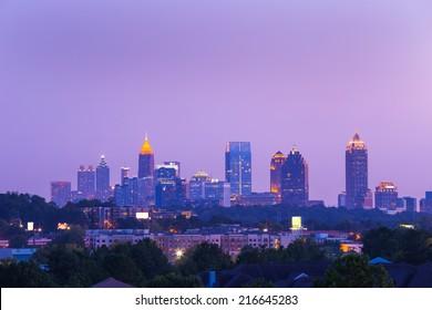 Atlanta downtown in beautiful cloud dusk/Atlanta Downtown in dusk