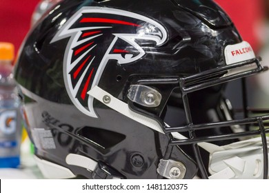 Atlanta Falcons Helmet - week #3 of the 2019 NFL Pre-Season Game Atlanta Falcons Host the New York Jets on Thursday August 15th 2019 at the Mercedes Benz Stadium in Atlanta Georgia USA