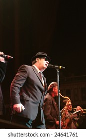 ATLANTA - FEB 7: Actor Dan Aykroyd performs in the musical group, The Blues Brothers, at The Tabernacle on February 7, 2009 in Atlanta, Georgia, for the Hilles of Ga Benefit.