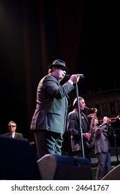 ATLANTA - FEB 7: Actor Dan Aykroyd gestures as he performs in the musical group, The Blues Brothers, at The Tabernacle on February 7, 2009 in Atlanta, Georgia, for the Hilles of Ga Benefit.