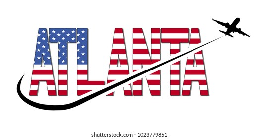 Atlanta flag text with plane silhouette and swoosh illustration