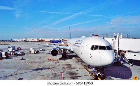 ATLANTA, GA -2 FEB 2017-  View of the Hartsfield–Jackson Atlanta International Airport (ATL), a hub for  Delta Airlines (DL).