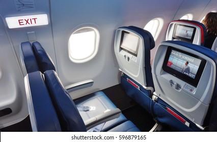 ATLANTA, GA -2 FEB 2017- Inside the airplane cabin of a Delta Airlines (DL) flight. Delta is headquartered at the Hartsfield-Jackson Atlanta airport (ATL).