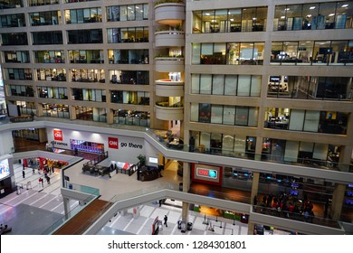 ATLANTA, GA -4 JAN 2019- View of the CNN Center, the world headquarters of the CNN news network located in downtown Atlanta, Georgia. It offers Studio Tours.