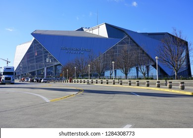 ATLANTA, GA -4 JAN 2019- View of the    Mercedes-Benz Stadium, a multi-purpose sports arena located in Georgia, home of the Atlanta Falcons. It will host the NFL Superbowl LIII 53 in February 2019.