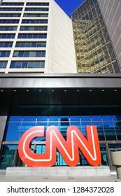 ATLANTA, GA -4 JAN 2019- View of the CNN logo at the CNN Center, the world headquarters of the CNN news network located in downtown Atlanta, Georgia.