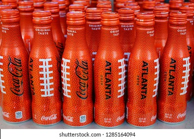 ATLANTA, GA -4 JAN 2019- View of special edition red Coca-Cola bottles for the NFL Superbowl LIII 53 to be held in Atlanta, Georgia, home of Coke, in February 2019.