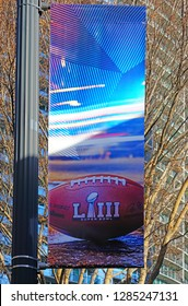 ATLANTA, GA -4 JAN 2019- View of a street sign advertising the NFL Superbowl LIII 53 football championship to take place in Atlanta, Georgia at the Mercedes-Benz Stadium in February 2019.