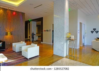 ATLANTA, GA -4 JAN 2019- View of the Hyatt Centric Midtown Atlanta, a modern business hotel located in downtown Atlanta, Georgia.