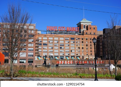 ATLANTA, GA -4 JAN 2019- View of the Ponce City Market, a mixed-use market and development located in a historic Sears Roebuck building located in downtown Atlanta, Georgia.