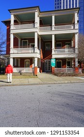 ATLANTA, GA -4 JAN 2019- View of the Margaret Mitchell House, home of the Gone With the Wind author, a historic house museum located in Atlanta, Georgia.