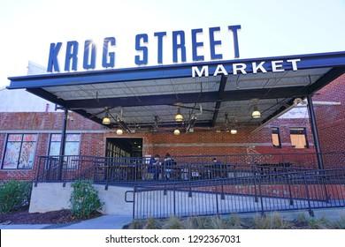 ATLANTA, GA -4 JAN 2019- View of the Krog Street Market, a mixed-use market and development located along the BeltLine trail in downtown Atlanta, Georgia.